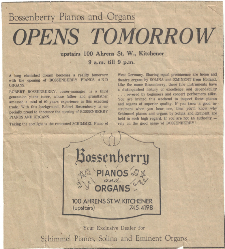 Bossenberry Piano Opening news article